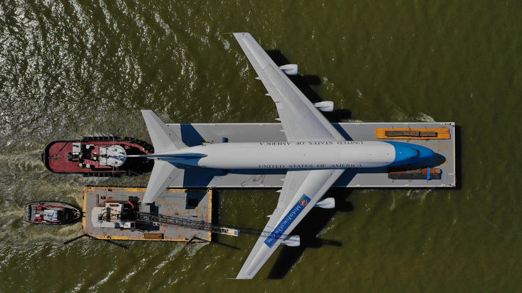 A replica of Air Force One is transported up the Potomac River to Washington D.C.  (Jerry Jackson, Denise Sanders)
