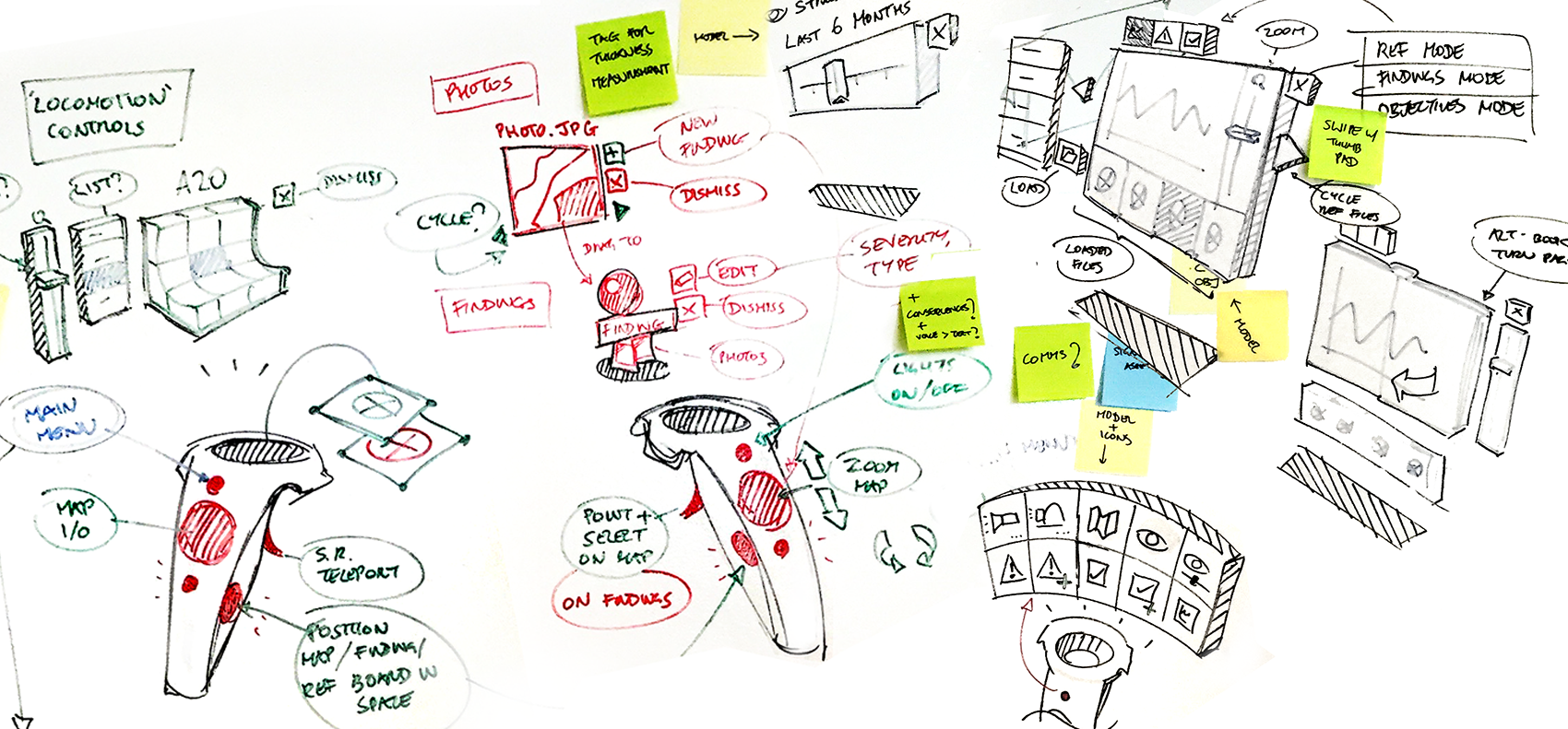 Whiteboard sketches used to work out a UI design. Design for VR required many iterations to explore which UI controls and interactions worked best on the platform. I worked closely with our developers, making extensive use of sketches and quick 3D models to quickly convey ideas