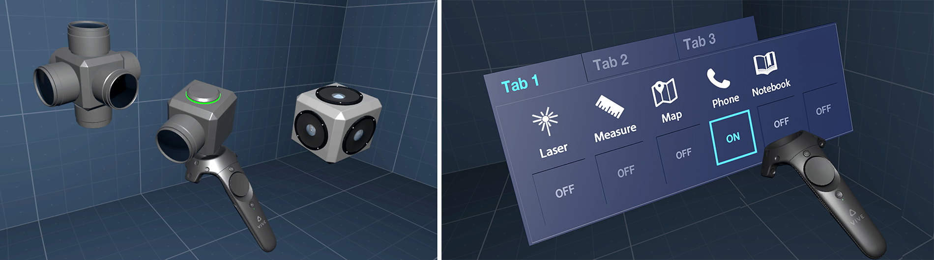 3D sketch objects created in Solidworks to enable fast prototyping and testing of UI components