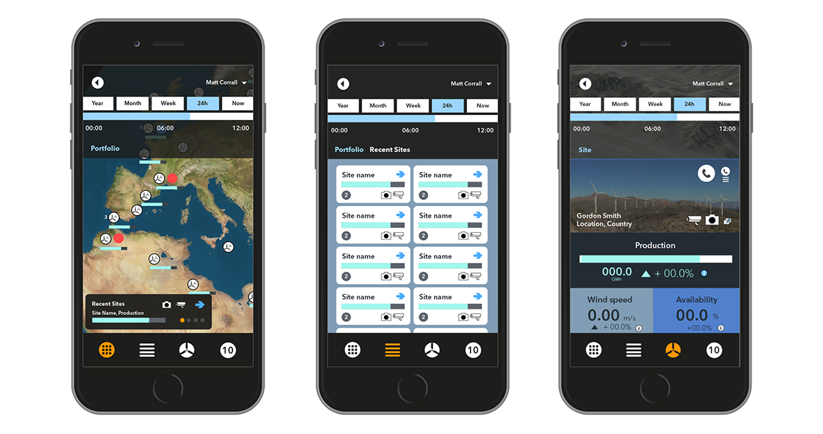 Illustrator /Photoshop UI mockups. Mobile site showing quick toggle of windfarm info modes (Created by design team).
