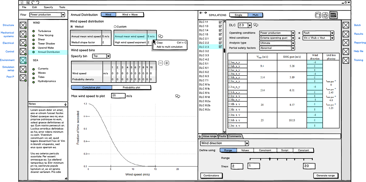Balsamiq UI sketch.Workspace design for managing multiple stress simulations simultaneously