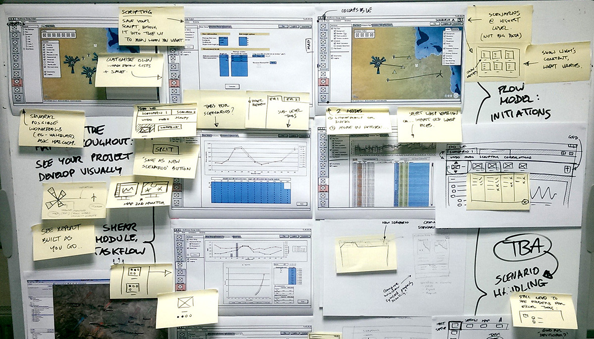 Early working sketches, designing a new UI based on user task-flows
