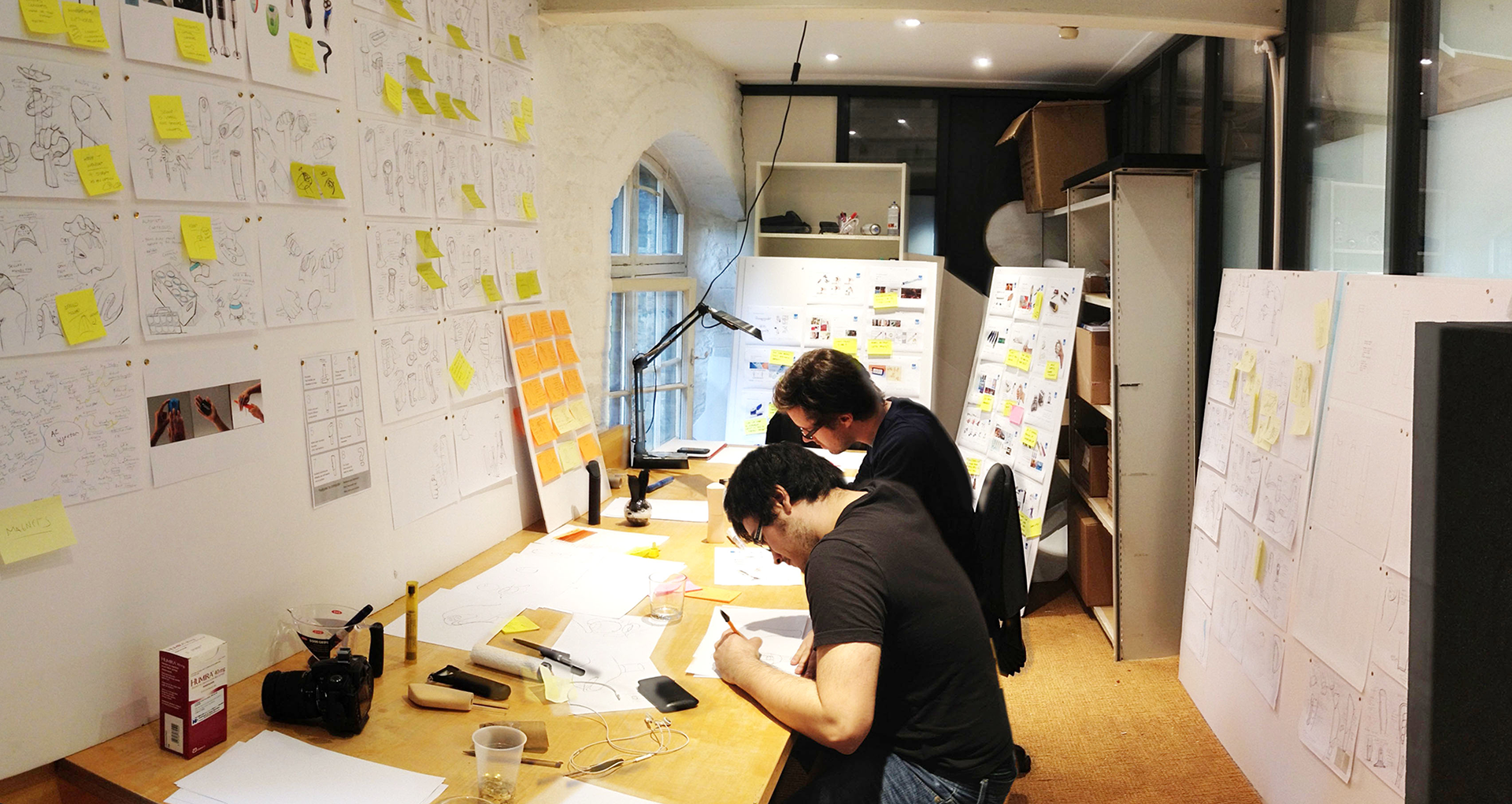 The design team created dozens of concepts via sketches and created quick foam models to help test ergonomic ideas, testing them with colleagues around the company for fast feedback