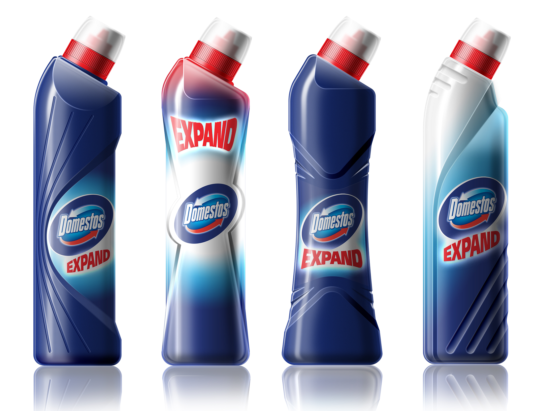 We explored in detail how to communicate the product USP - it's expanding foam bleach - through the form of the bottle and pack graphics, communicating this through Photoshop renderings. This is of particular importance in a supermarket setting where purchase decisions are made quickly and instinctively. We quickly gained a good understanding of the limits of the form language by collaborating with the client brand team. We explored different print options from shrink-wraps and labels to direct bottle printing