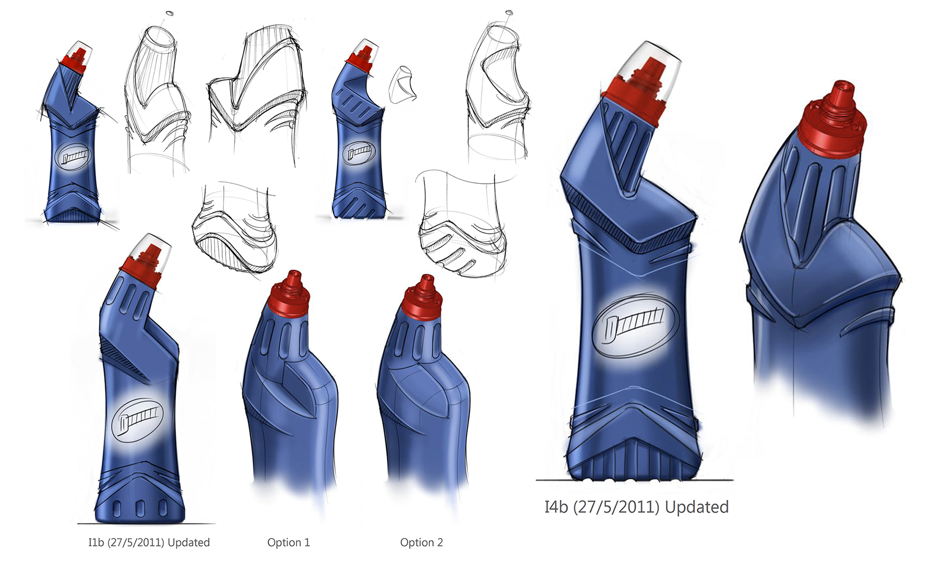 At this point, mechanical engineer and product designer worked closely together to define details that would allow for a robust, ergonomic bottle that returned to shape after being squeezed, yet still communicated the desired visual messages. This was done through sketches for speed