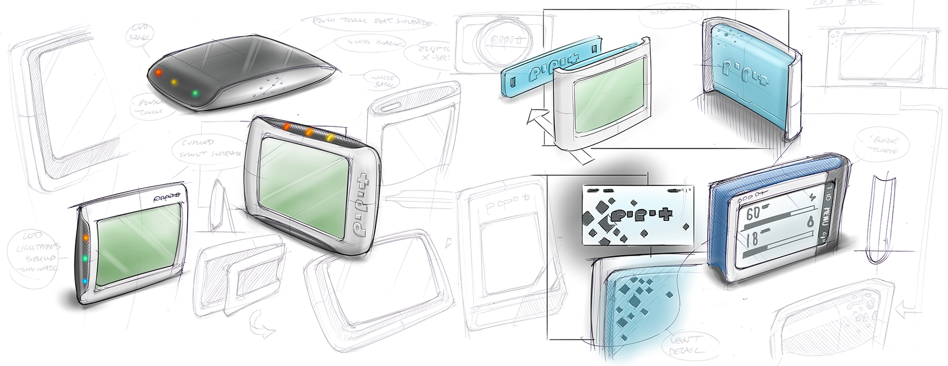 With electronic design underway and target costs defined, we began exploring product form in a range of sketch concepts. We worked to find an appealing style that also allowed the product to stand, to be wall-mounted, and to include indicator LEDs to draw user attention