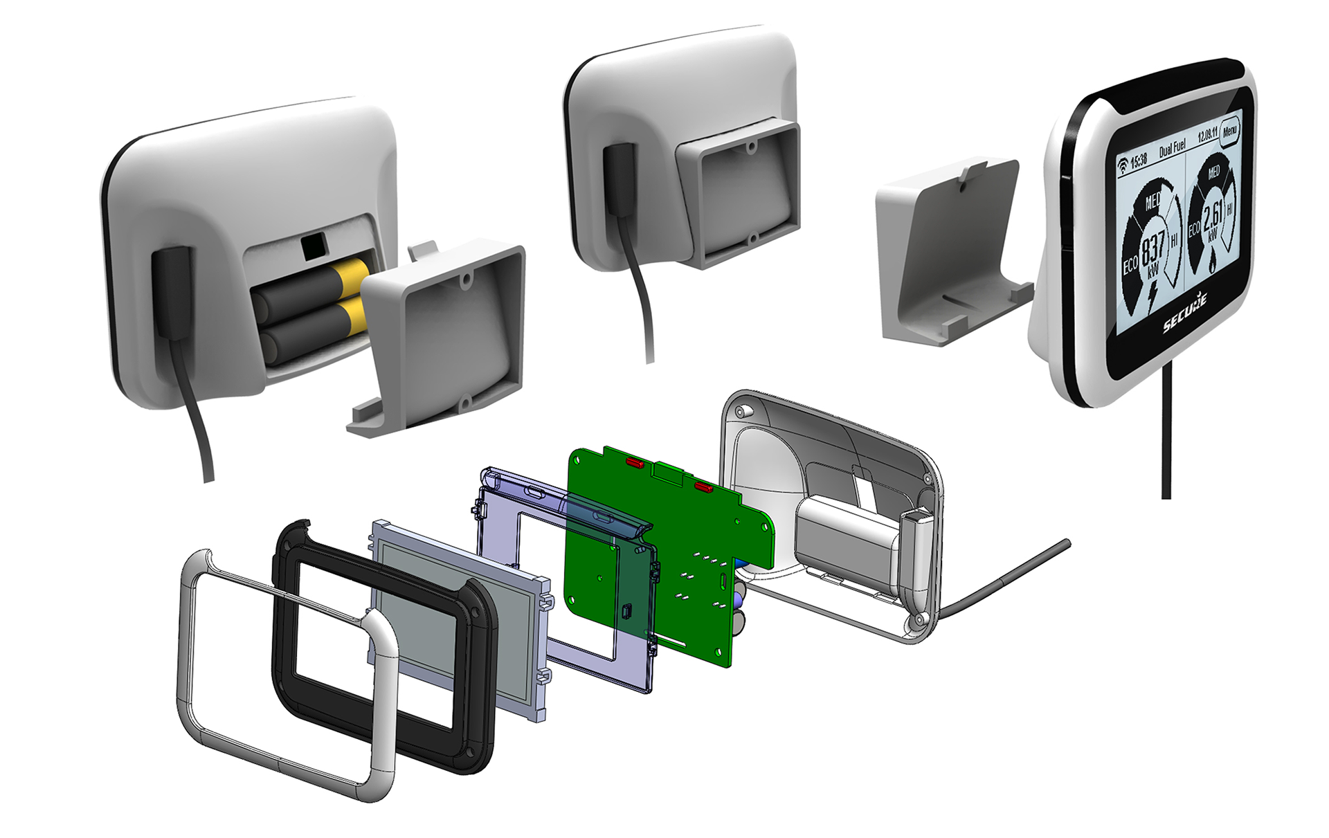 We designed the plastic casework and stand to manufacturing level, defining all parts and modelling them in Solidworks 3D CAD. We included an optional wall-mount part, considered assembly /disassembly, and cable management, adjusting designs in response to manufacturer's cost estimates