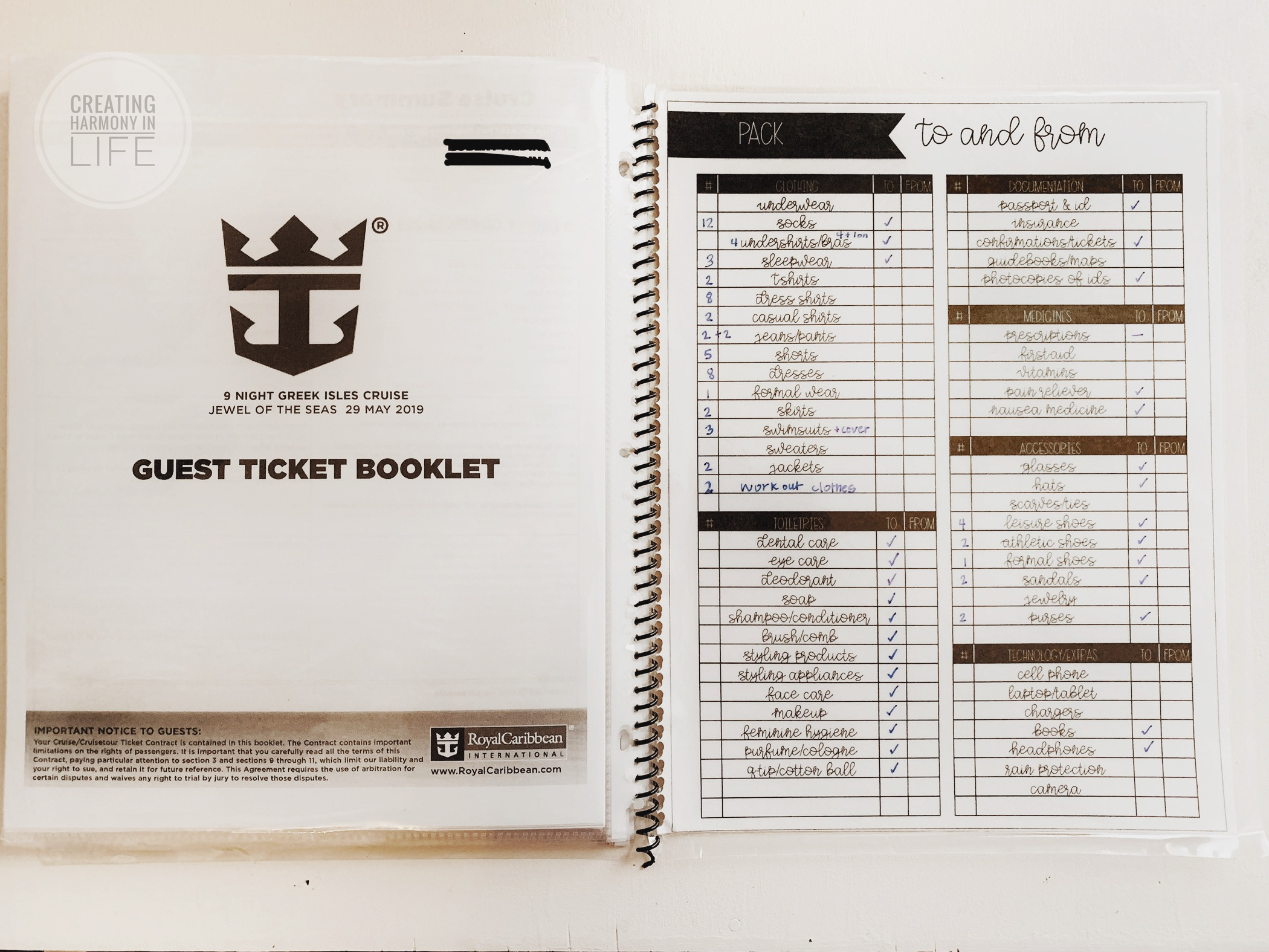 Our cruise guest booklet was stored in the back, along with the laminated packing list to check going and coming back.