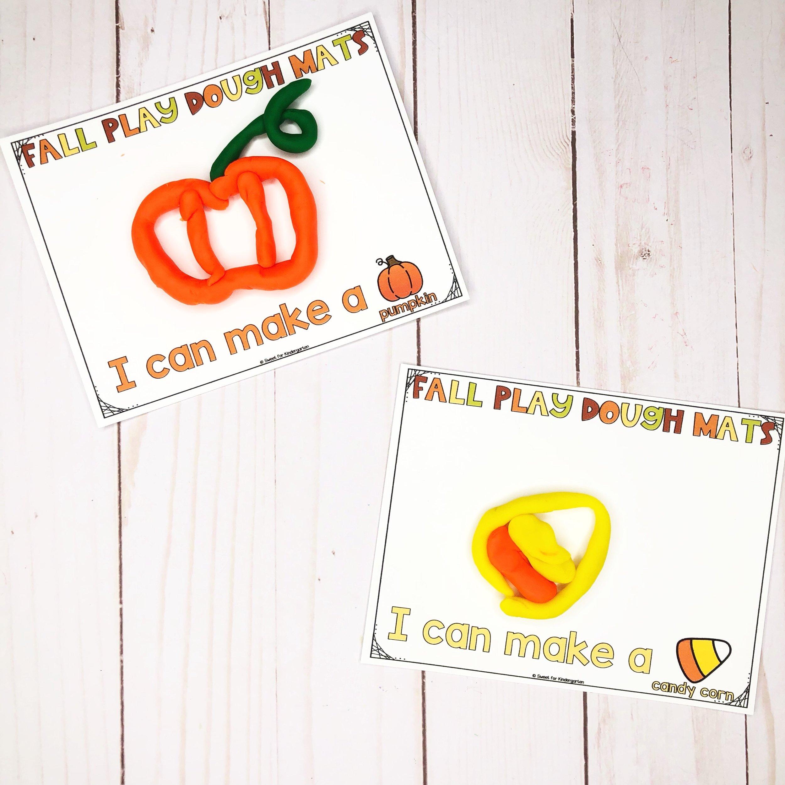 Fall Play Dough Mats  from @sweetforkindergarten