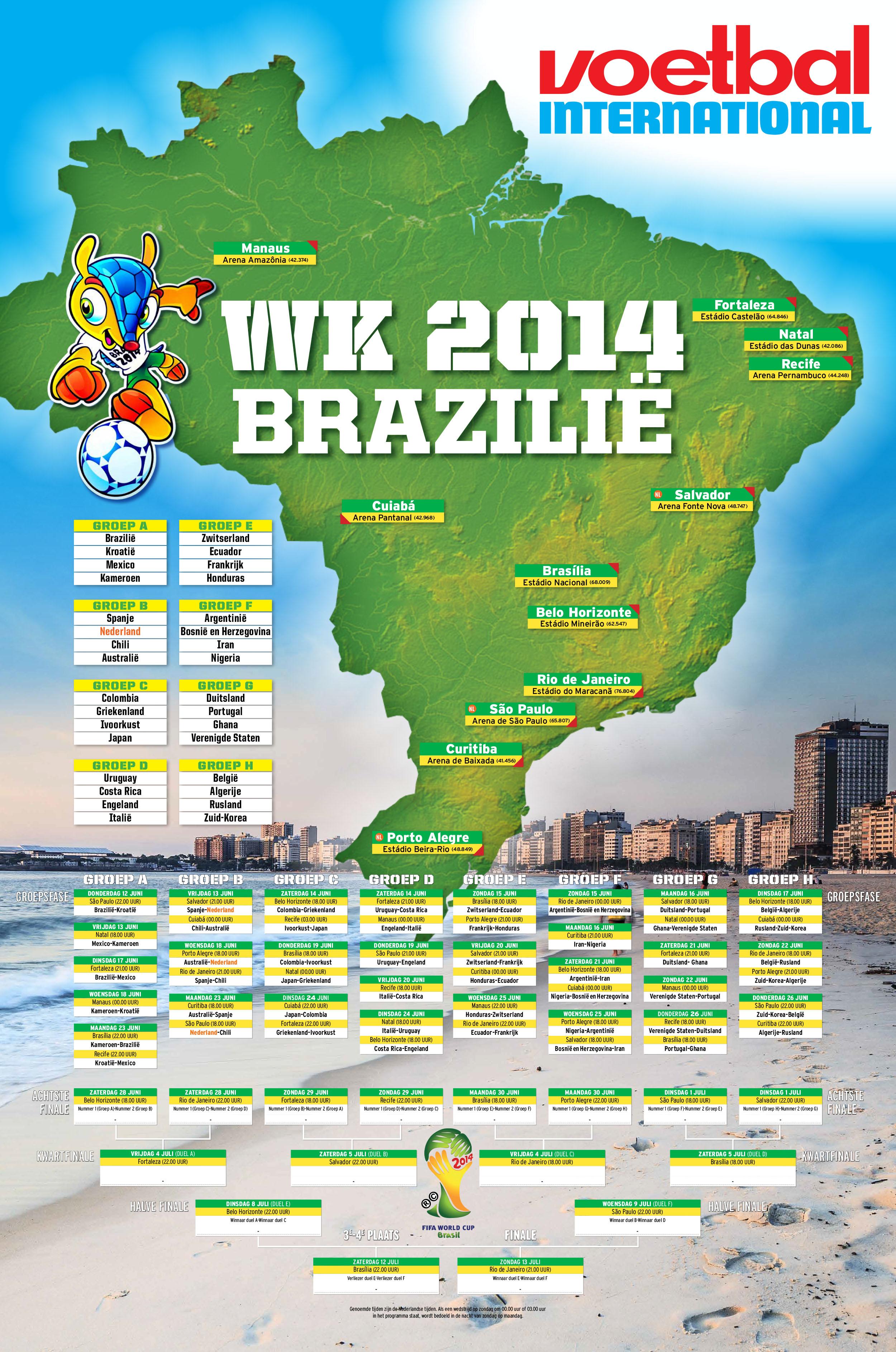 Poster speelschema WK 2014 (A2)