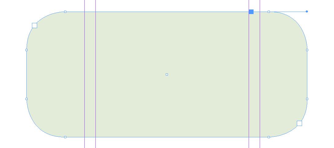 Boven: selecteer het kader met het directe selectiegereedschap (witte pijltje).  Onder: het effect van een klik op het blauwe stipje in het gele blokje.
