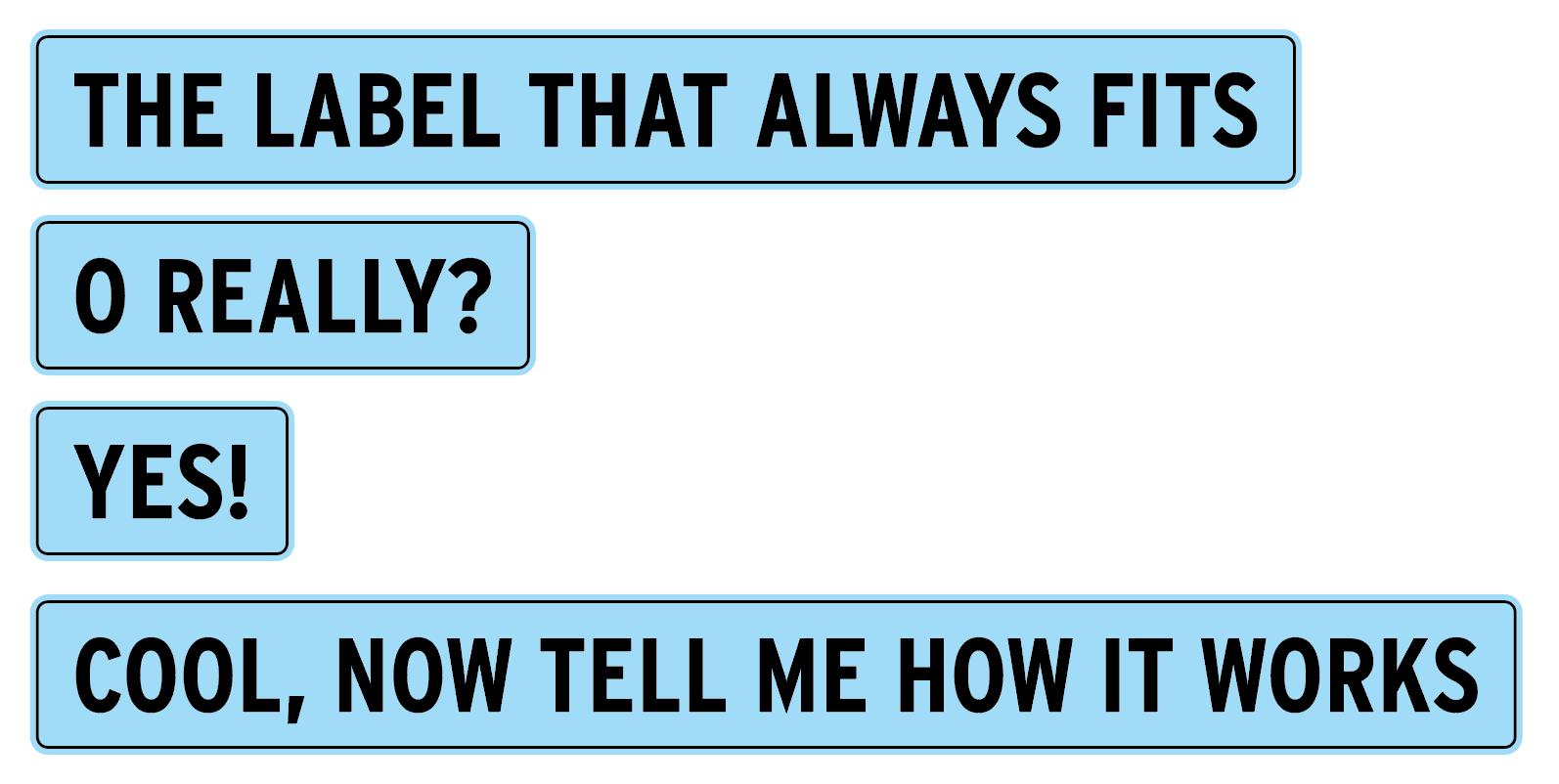 Deze labels passen zich automatisch aan de lengte van de tekst aan.