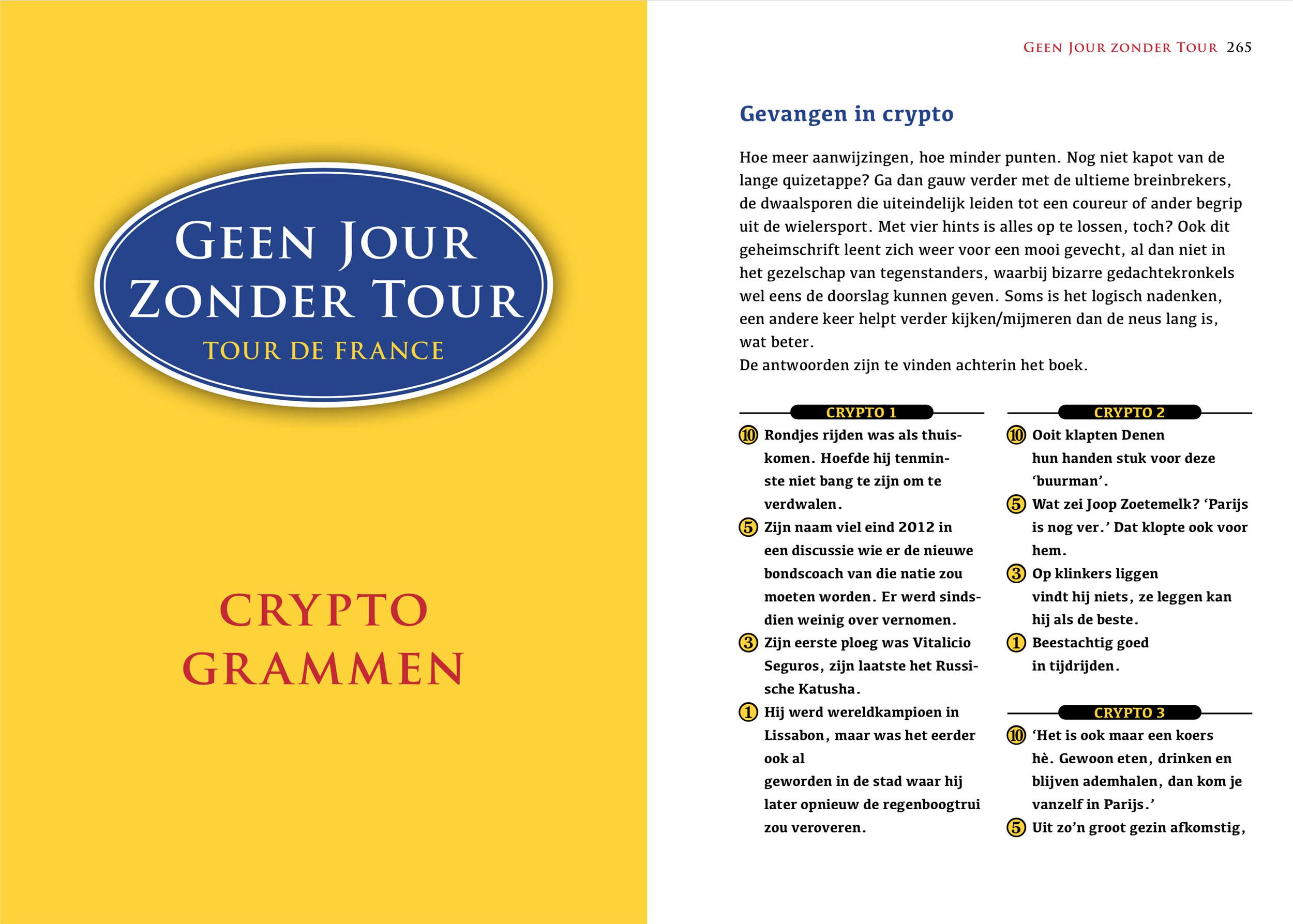 Geen Jour Zonder Tour (binnenwerk, cryptogrammen)