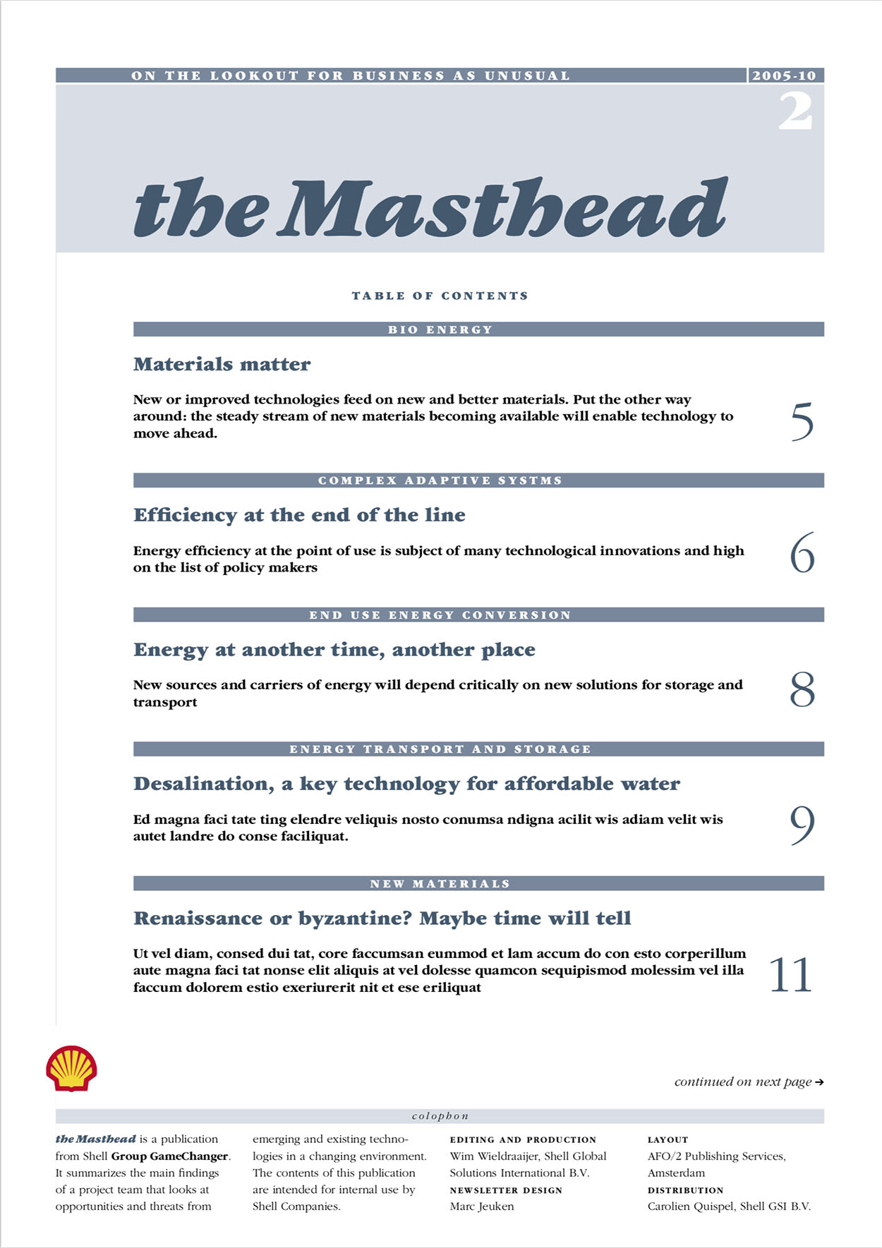 Cover newsletter The Masthead
