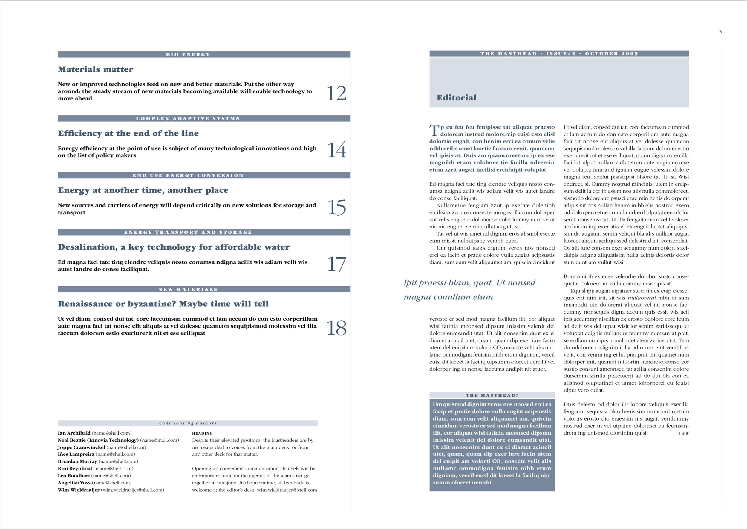 Newsletter The Masthead (cover 2 en pagina 3)