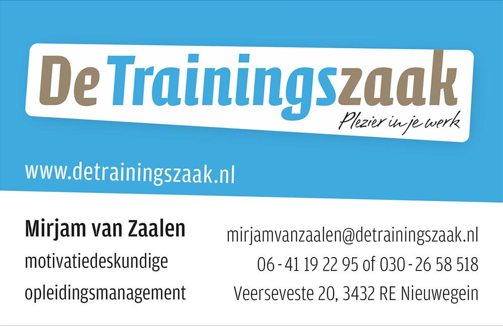 Logo en visitekaart De Trainingszaak (voorzijde)