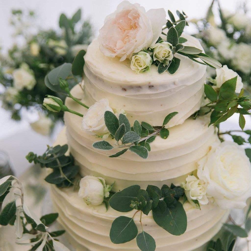 Three tier summer wedding cake