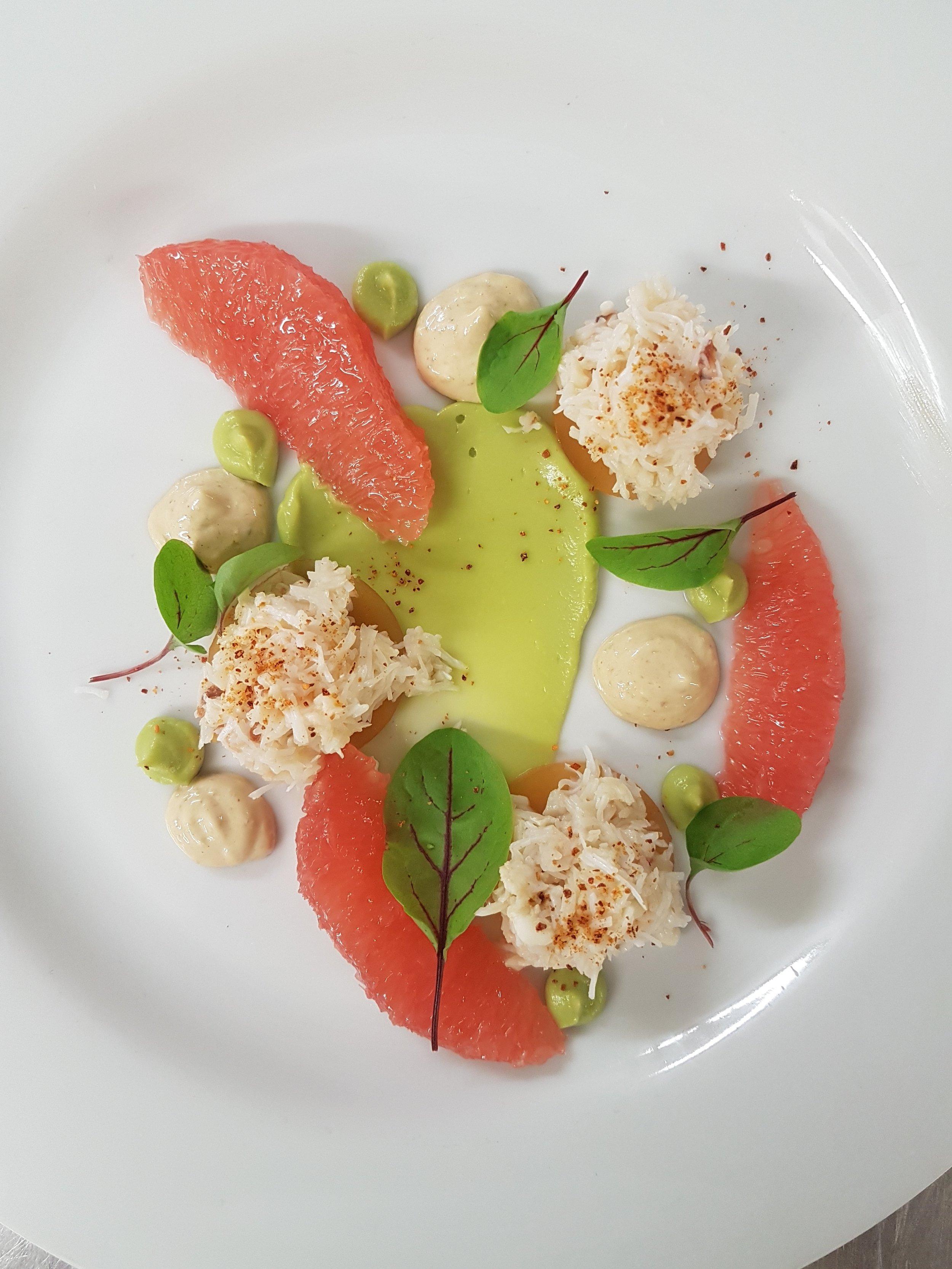 Crab and grapefruit salad with avocado puree.jpg