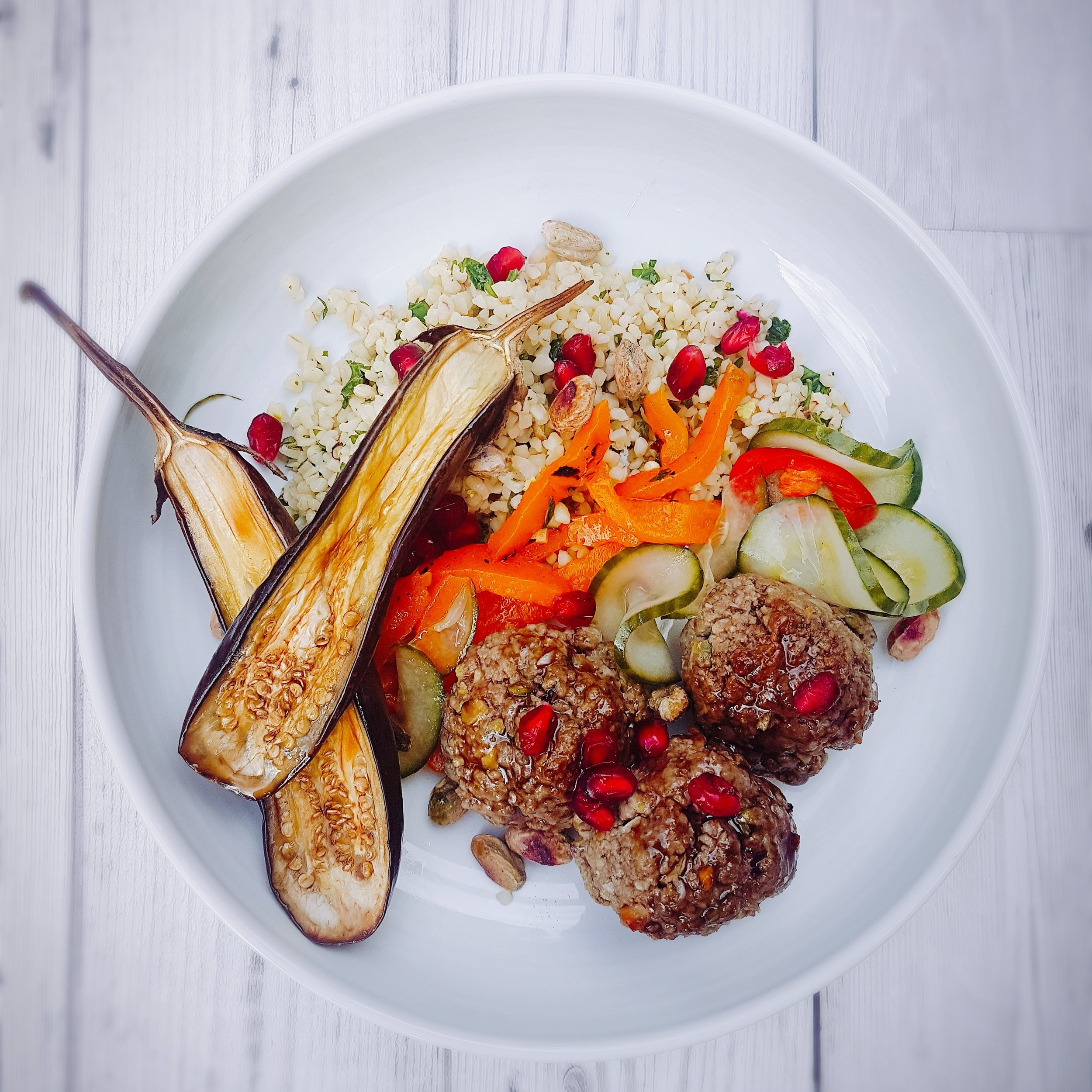 Lamb meatballs with bulgur wheat salad