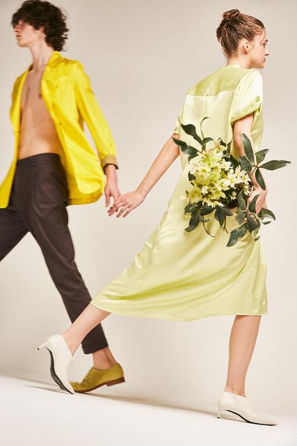 Isa: Dress SPORTMAX. Shoes MAX MARA.  Yellow jacket ALYSI. Trousers MIRA. Shoes MARITA MORENO.  Left page: Shoes FRATELLI ROSETTI