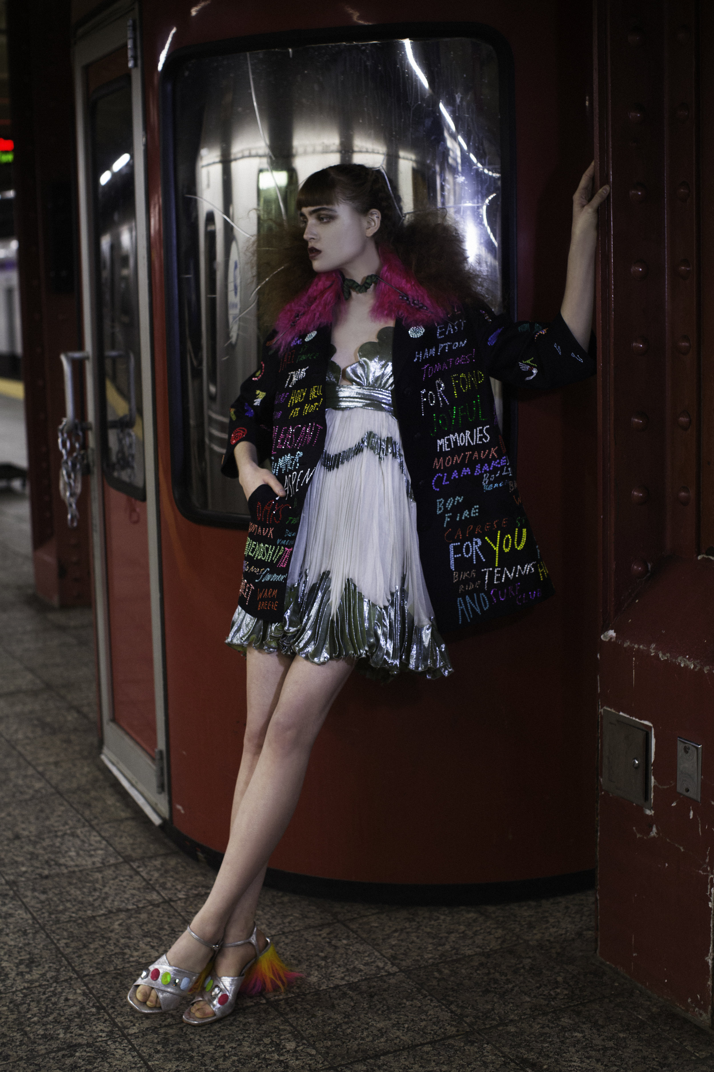 Dress MARIA LUCIA HOHAN. Coat and shoes LIBERTINE. Brooch LANDEROS NEW YORK  Necklaces GEOFFREY MAC
