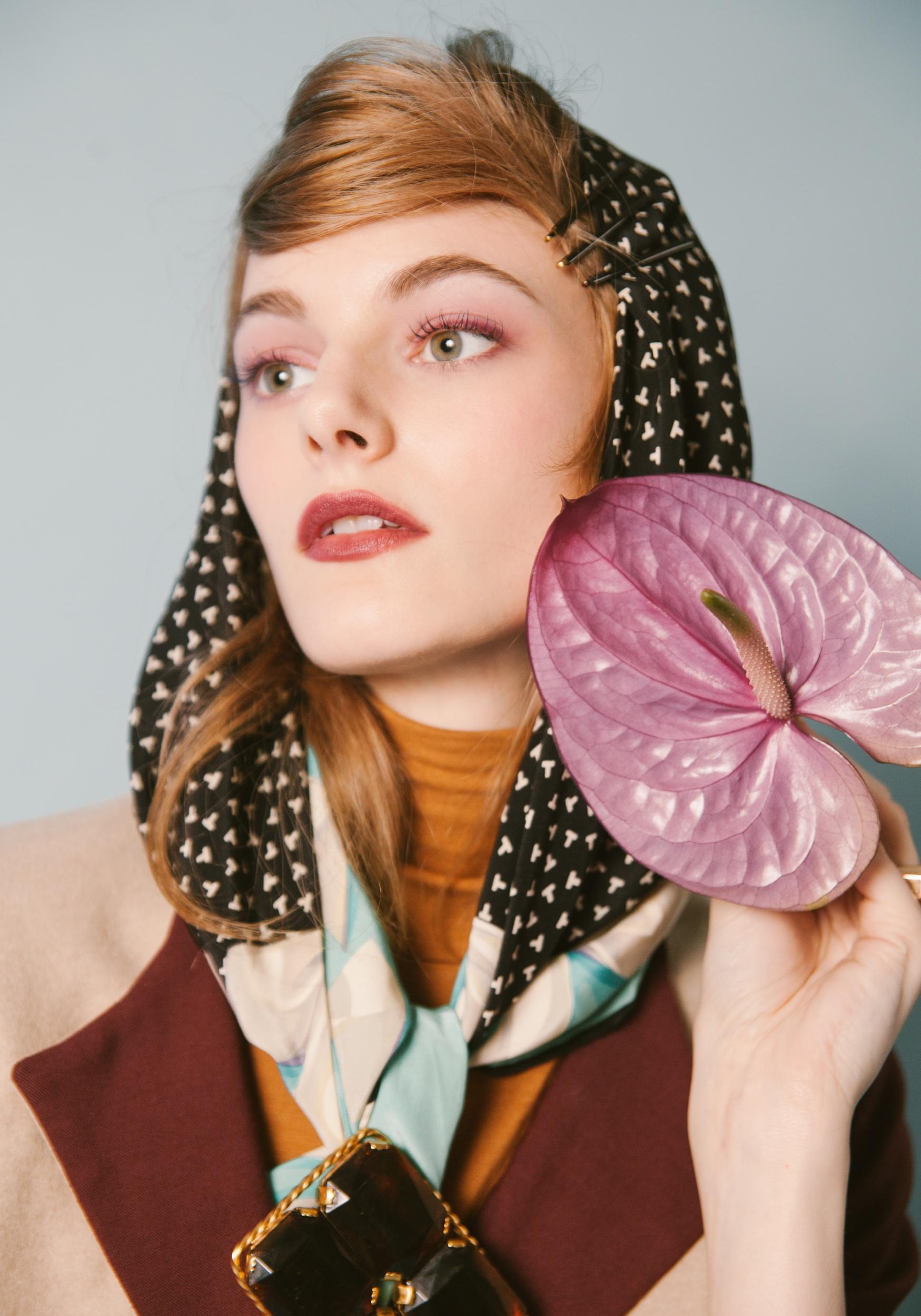 Jacket Elena Rudenko. Scarf Tiffany & Co