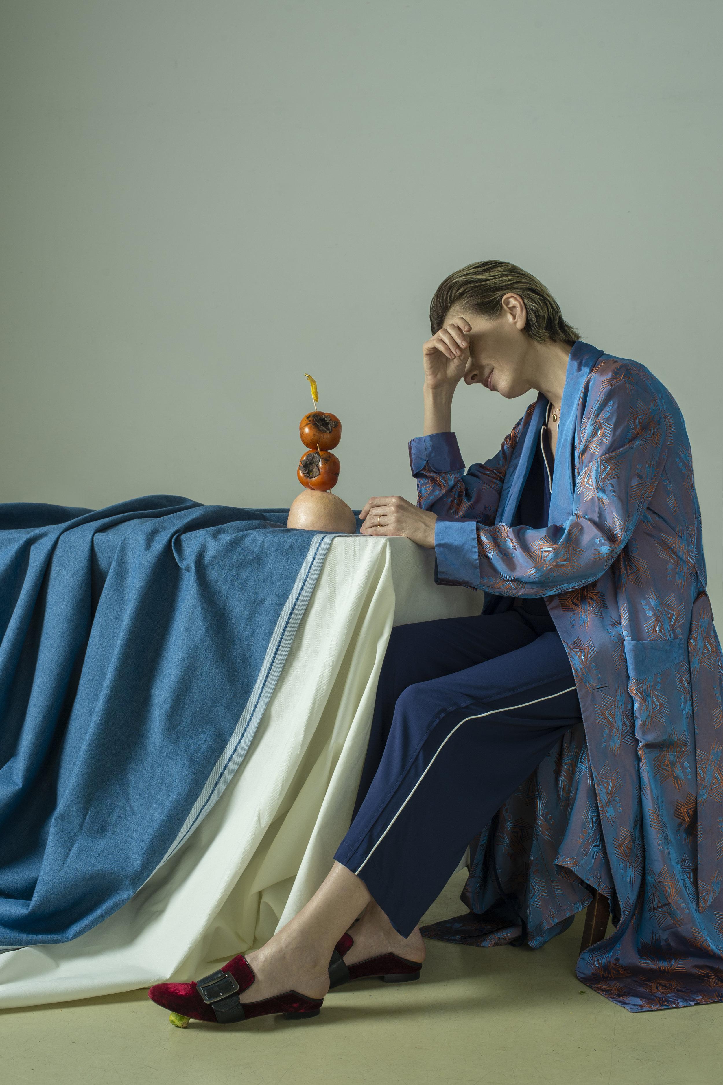 Robe GUCCI. Pajamas MARINA RINALDI. Mules BALLY.Ring and necklace MODBRAND. Ring AVGVST