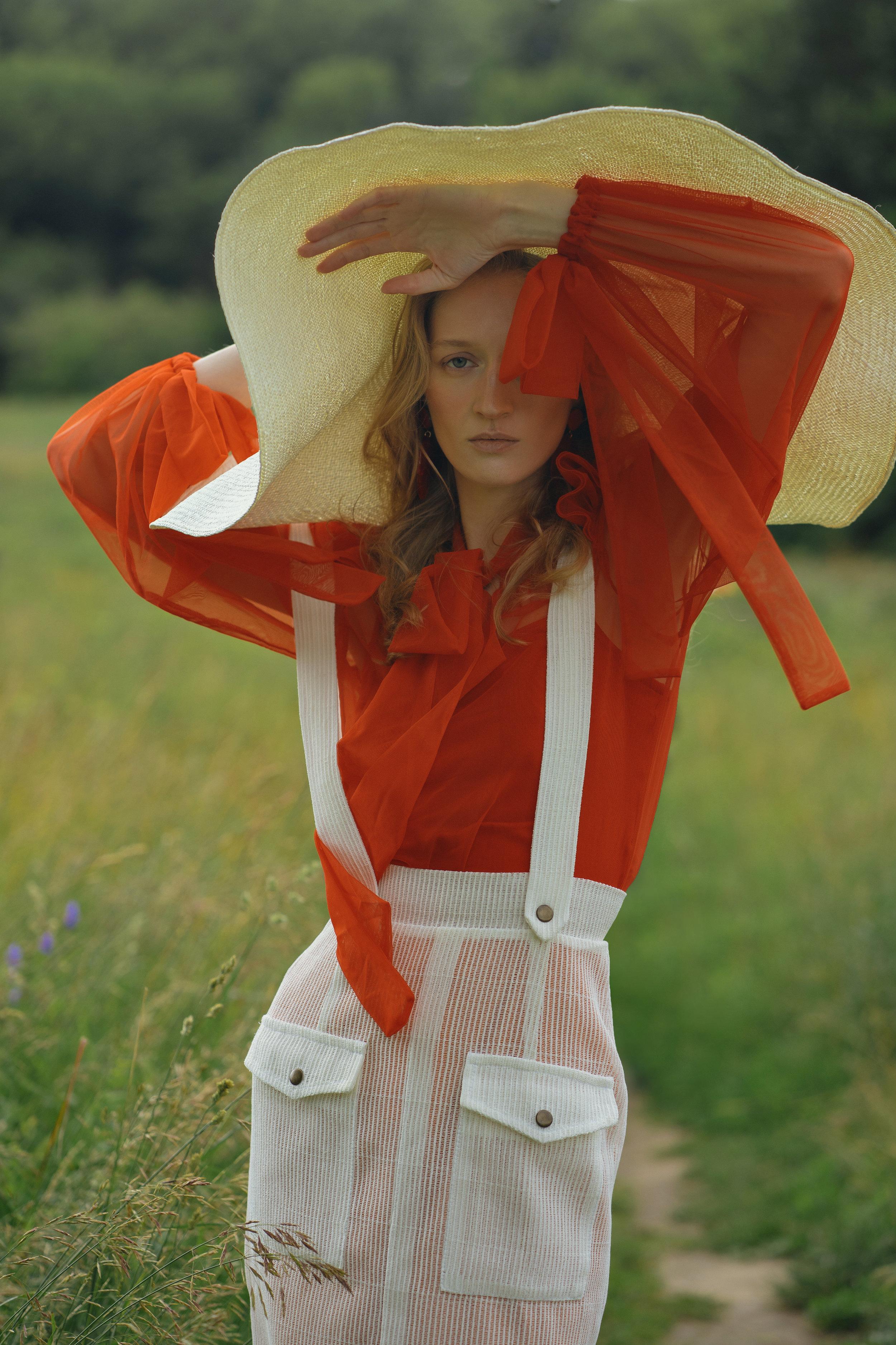 Blouse Tusa, skirt Slavnaya store, hat Lia Gureeva, earring Defiance project, mules Rosbalet