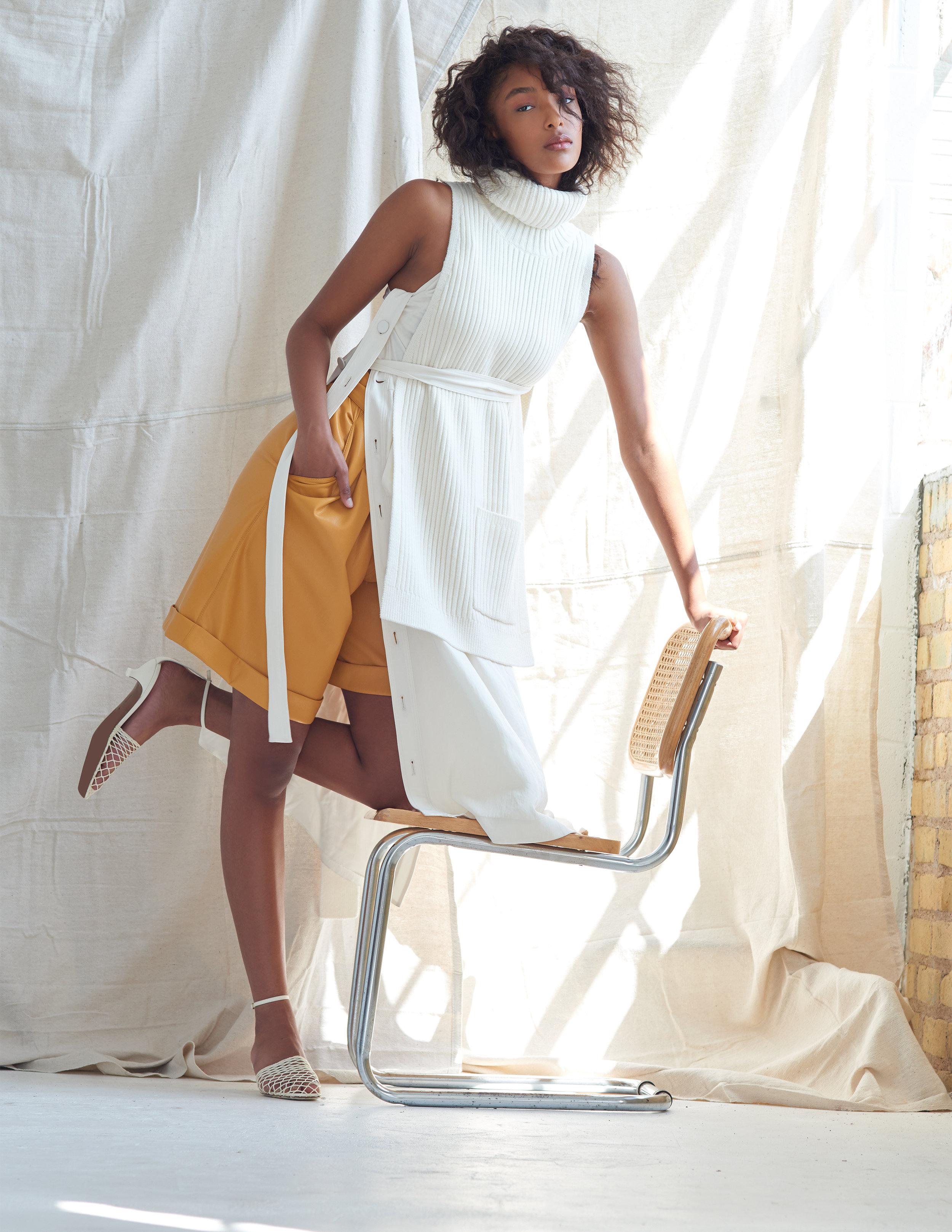 Tibi sweatervest  Rag & Bone dress  Nanushka shorts  Neous shoes