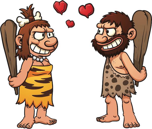 cartoon cave couple holding clubs
