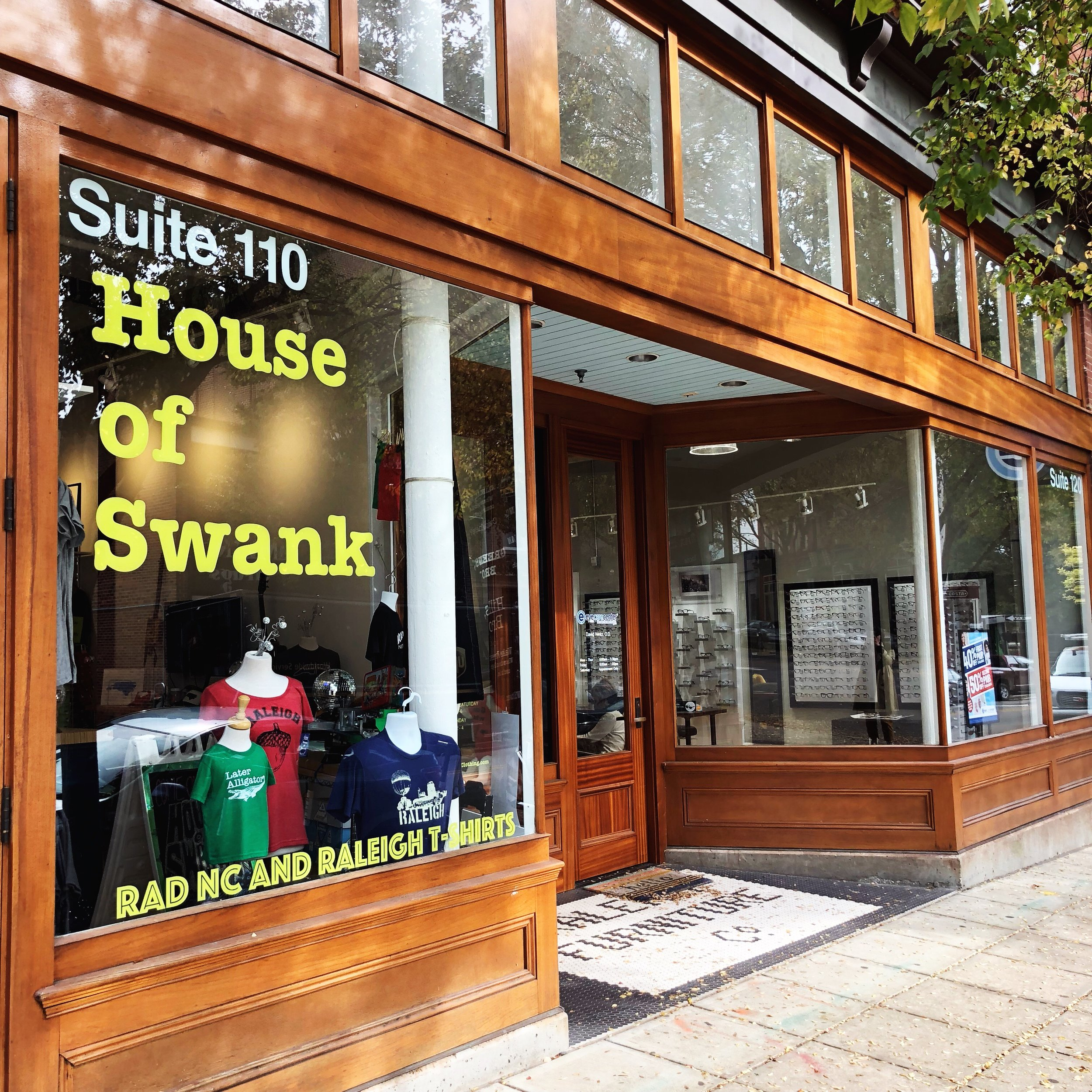 House of Swank Clothing - Authentic Raleigh and NC themed t-shirt design and print shop, putting the softest fun loving shirts in your hands for go-to wear and treasured gifts.119 E Hargett St.