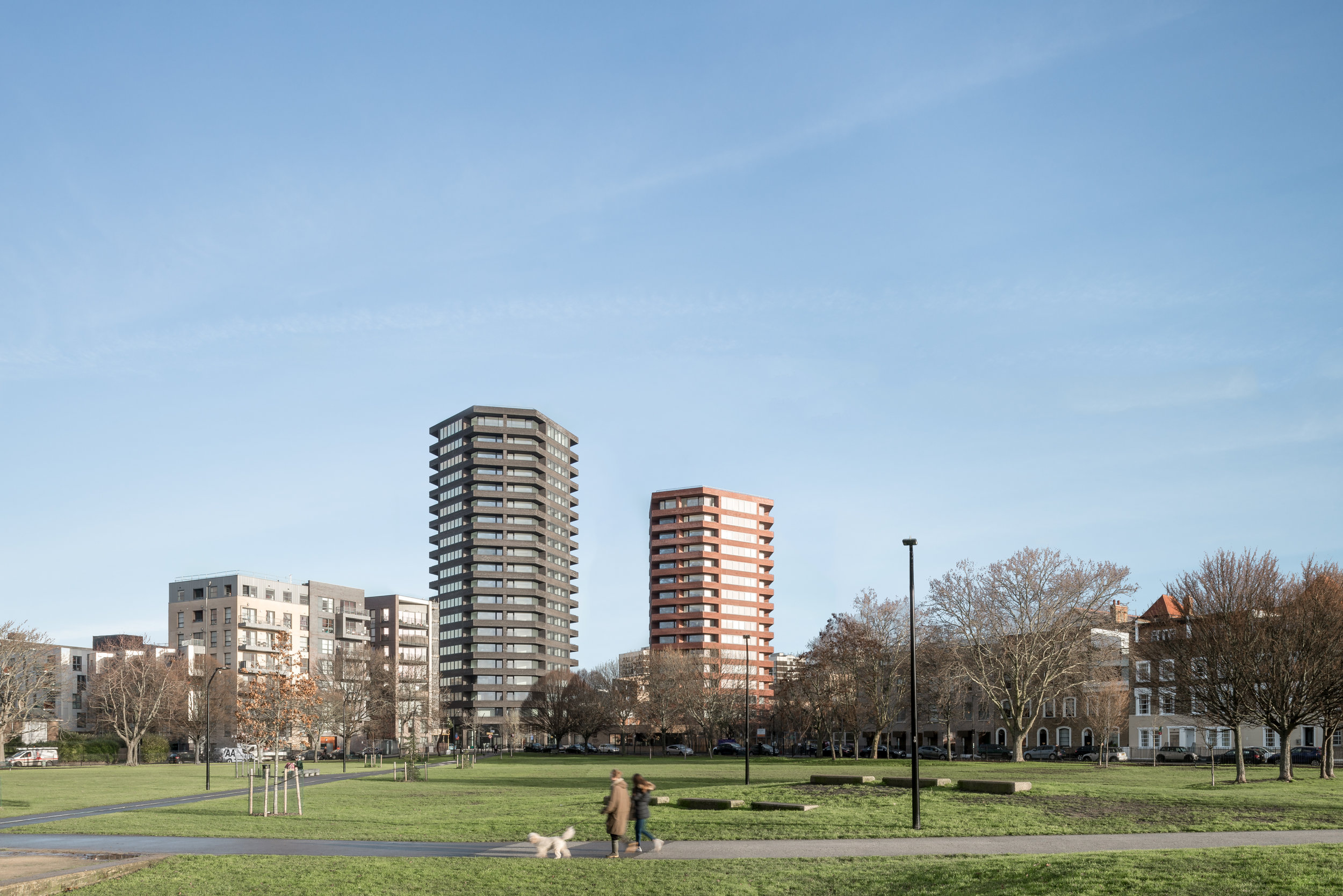 View of the towers from Shoreditch Park.