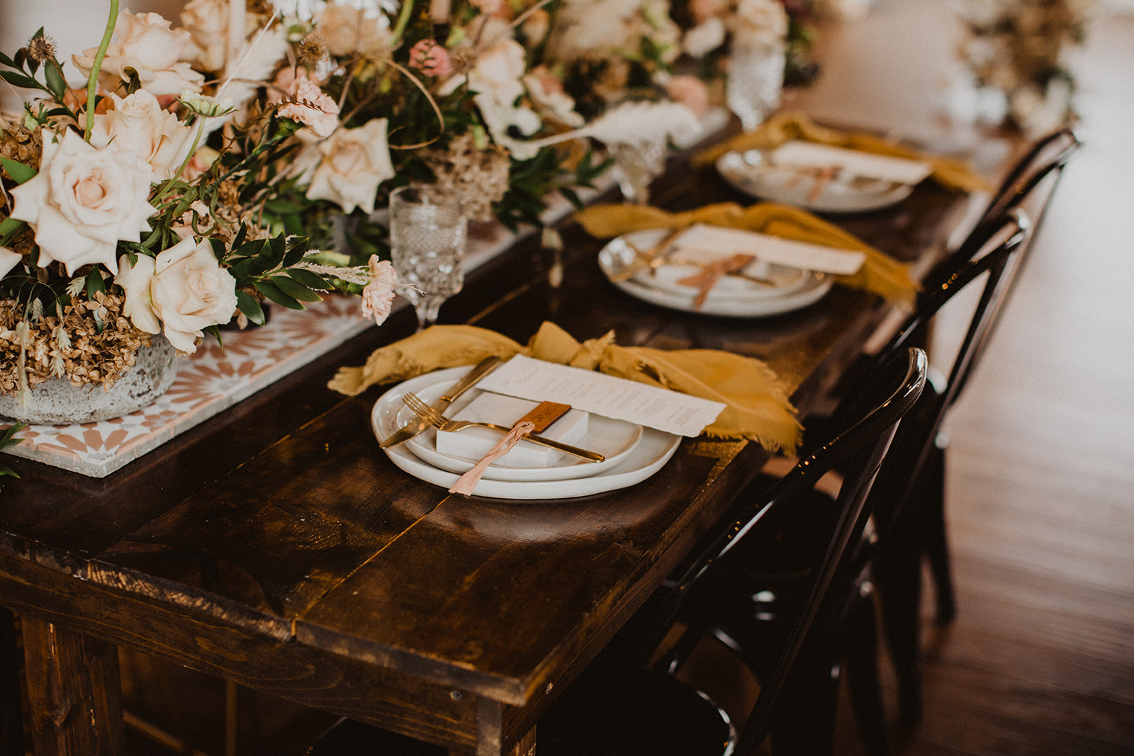 Wedding Tablescape with Flowers and Place Settings