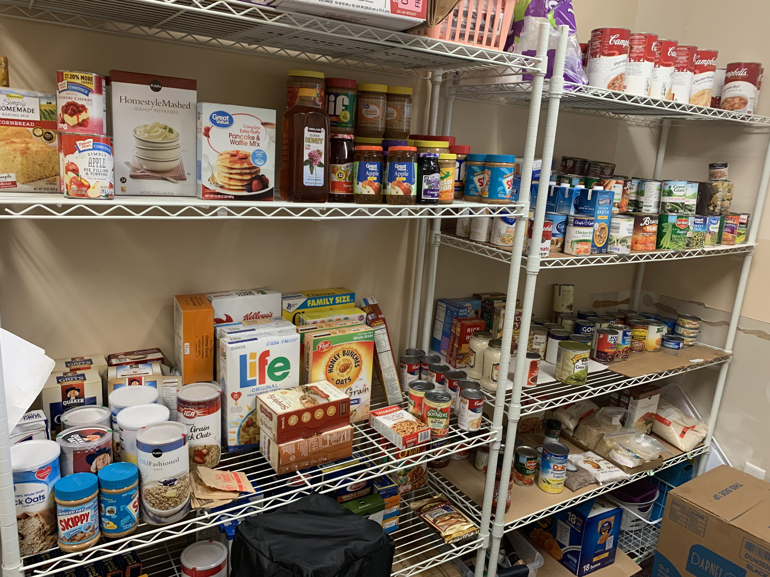 "Food Pantry - Our members do an awesome job of making sure our food pantry stays stocked with non perishable food items. Anytime someone comes to us with a need we do everything we can to provide them with a generous amount of food.In addition to our food pantry we also make ""blessing bags"" for the homeless. Our members keep these blessing bags in their cars so they can have something valuable to give to anyone they see holding a sign on the side of the highway."