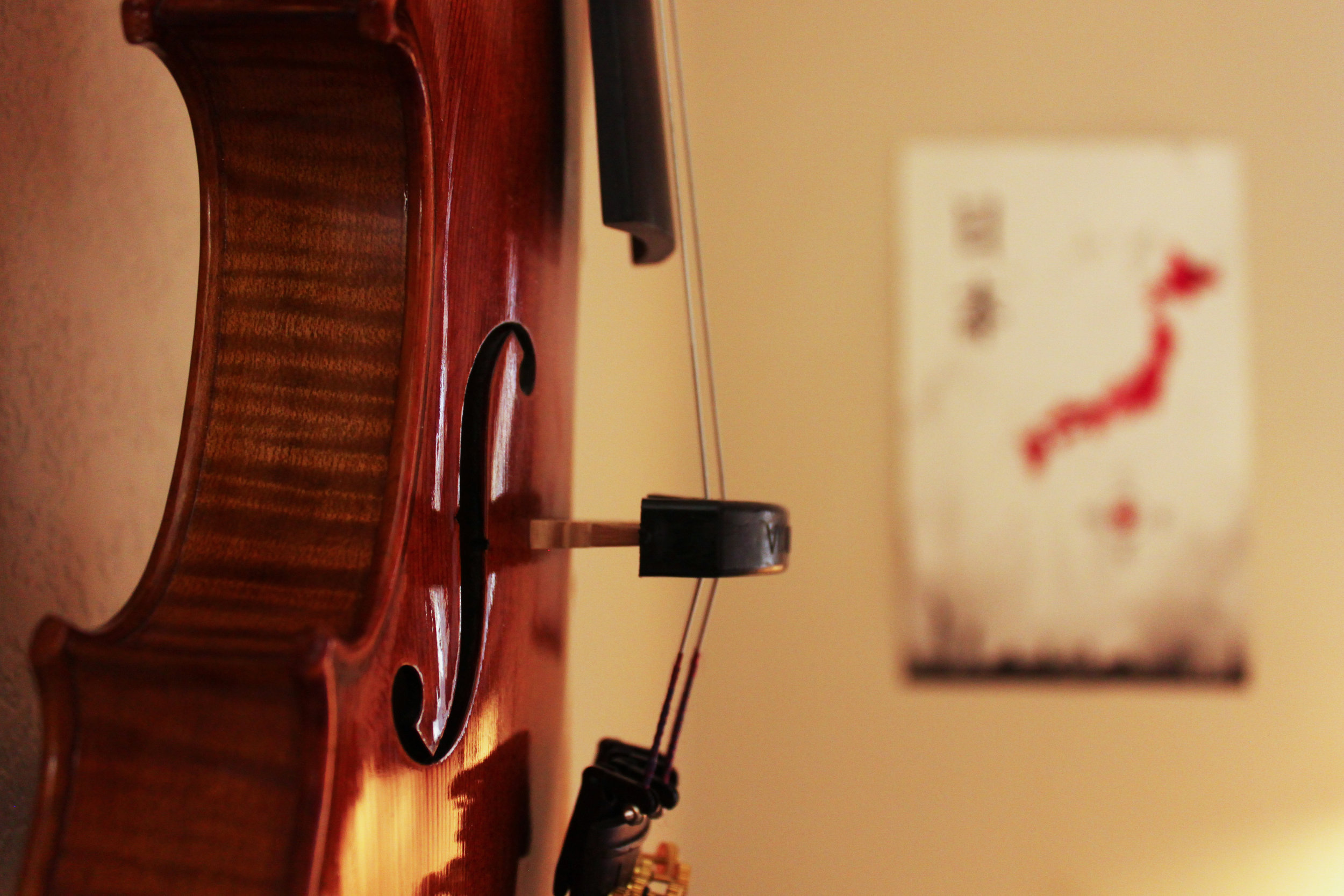 A violin hanging on the wall, serving as art and hobby.