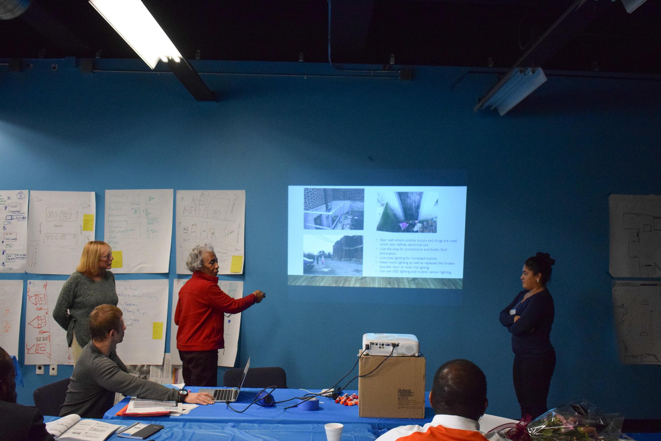 Burlington Avenue Block Club leaders brainstorming neighborhood safety strategies in a Crime Prevention Through Environmental Design workshop