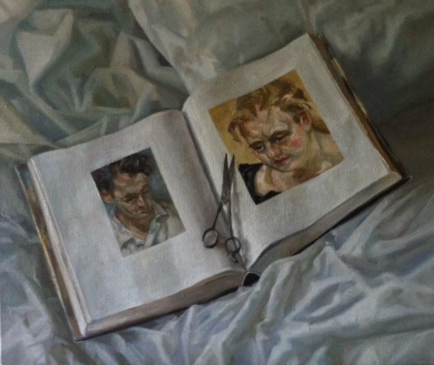 Books on Beds 1.Oil on Linen.20x24%22 Sold.jpg