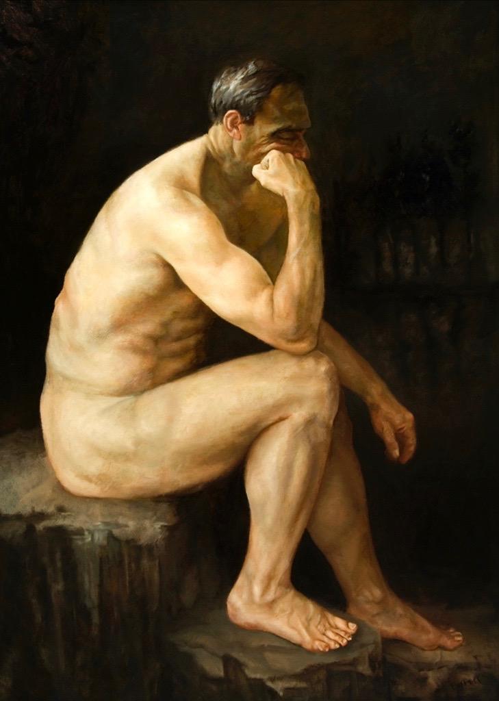 Thinking Man.Oil on Canvas.48x36%22.jpg