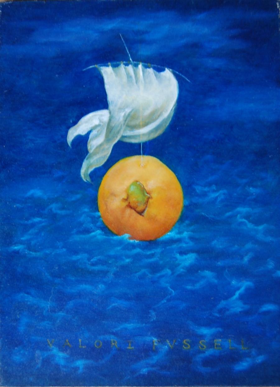 "Guava Sailing on a Midnight Sea  Oil on Panel 7 x 5"""