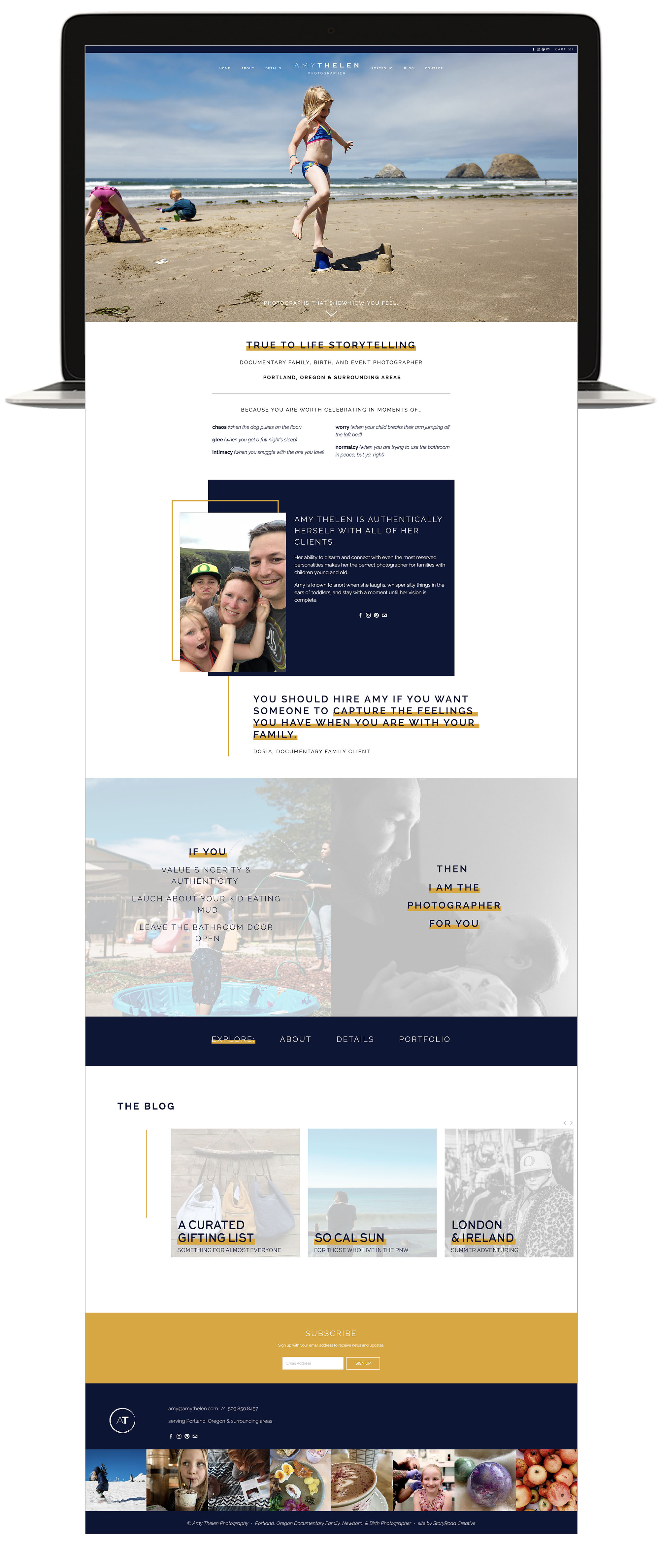Amy Thelen Photography Custom Squarespace website by StoryRoad Creative