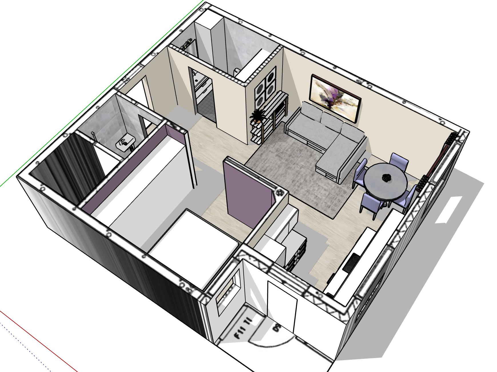 3D luonnos huoneiston pintamateriaalisuunnittelusta sekä kalustesijoittelusta.
