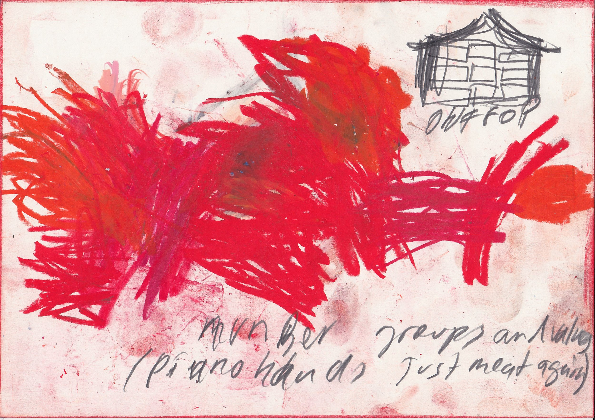 """""""Number groups and values/piano hands just meat again"""" crayons and dirt on paper 21x30 cm."""