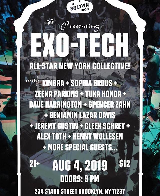 back at it with @exo__hq tonight — @thesultanroom 9pm doors — heavy band!  @sophiabrous @kimbramusic @eucademix @zeena_zeena @spencerzahn @jeremygustin @cleekschrey #kennywollesen @stephanesanjuan @benjaminlazardavis @tothtunes + ??