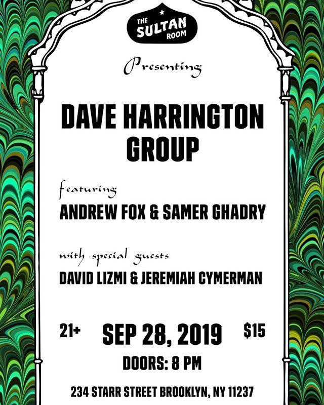 SATURDAY 9/28 @thesultanroom DHG plays PINC + improv w special guests !