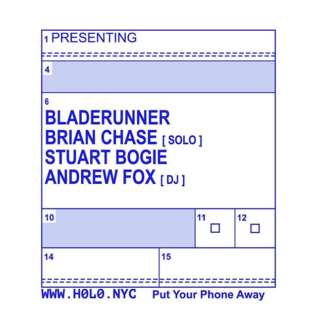 Last minute classic Bladerunner and friends @h0l0.nyc bar hang TOMORROW TUESDAY OCT 1 ... doors and @whoisandrewfox DJ at 6pm HAPPIEST HOUR + most eclectic selections ... followed by improv // duos with @stuartbogie and then SOLO MAESTRO @brianchase123 and THEN Bladerunner aka @willcrushwater @tlacael #DH + sit-ins?! Only time will tell.  Come to hang before dinner, miss dinner, and then eat pizza at 10pm around the corner when the shows over.