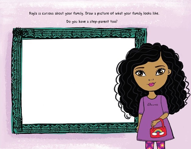 """Kayla is curious about your family. Draw a picture of what your family looks like. Do you have a step-parent too?"" Kayla's activity book comes packed full of pages just like this to engage your daughter in meaningful conversations! The activity book is meant to complete between parents and children to encourage children to express their true feelings about blended families. Grab one today! • Illustration by @madihayearwood ⠀ .⠀ .⠀ .⠀ #karisdolls #dolls #realisticdolls #childrensdolls #grace #children #family #happyfamily #singlemom #singledad #stepmom #stepdad #blendedfamily #blendedfamilies #coparenting #stepmom #stepdad #stepkids #stepsister #stepbrother #stepsiblings #stepfamily #divorce #divorcewithkids #familylove #playtime #toys #uniquefamily #diversefamily #mixedfamily"