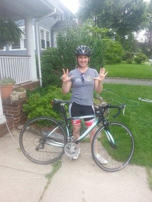 First bike ride, 8 weeks post-op.