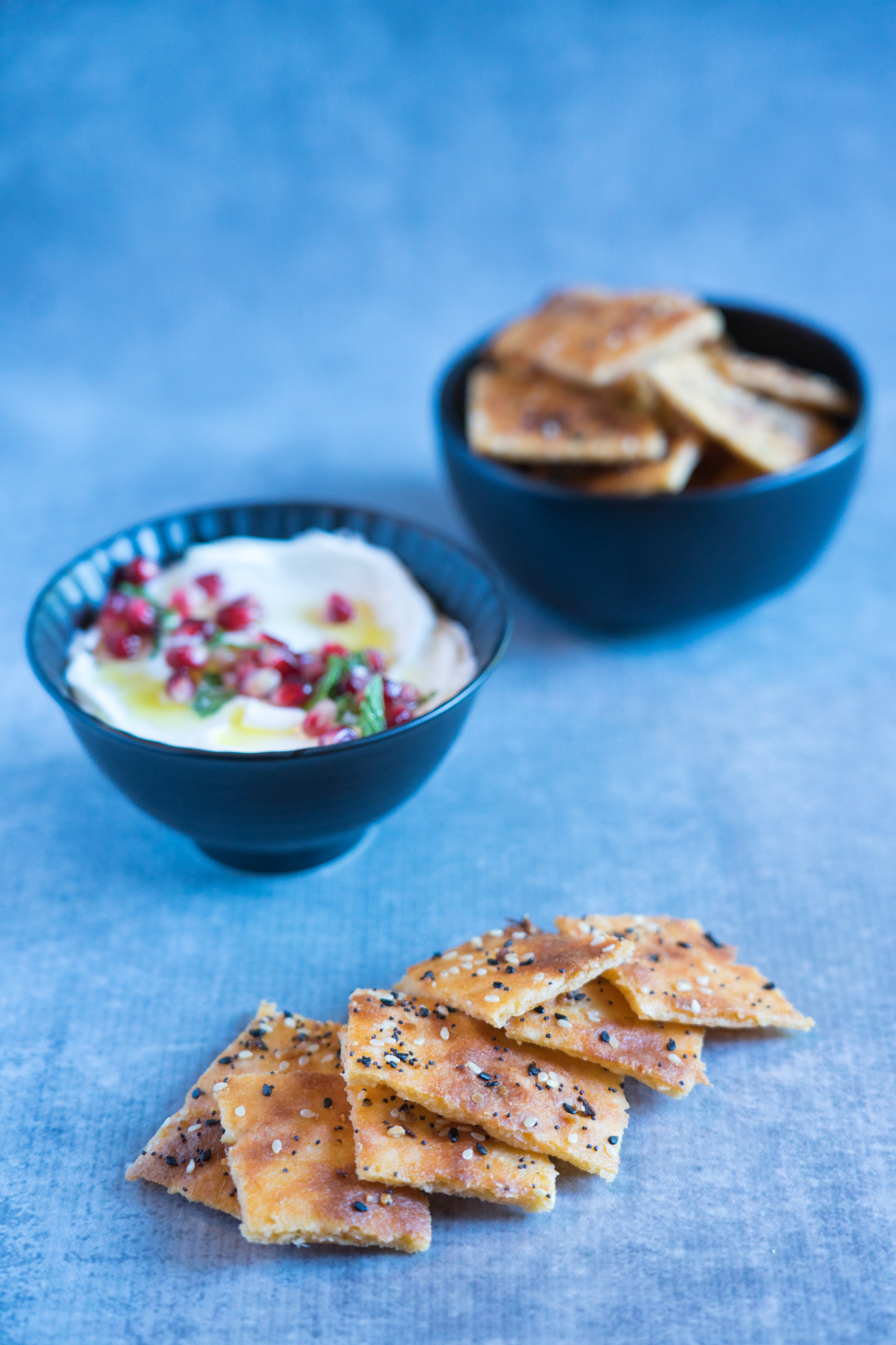 Gluten-free Everything Bagel Cheese Crackers with Creamy Feta Dip