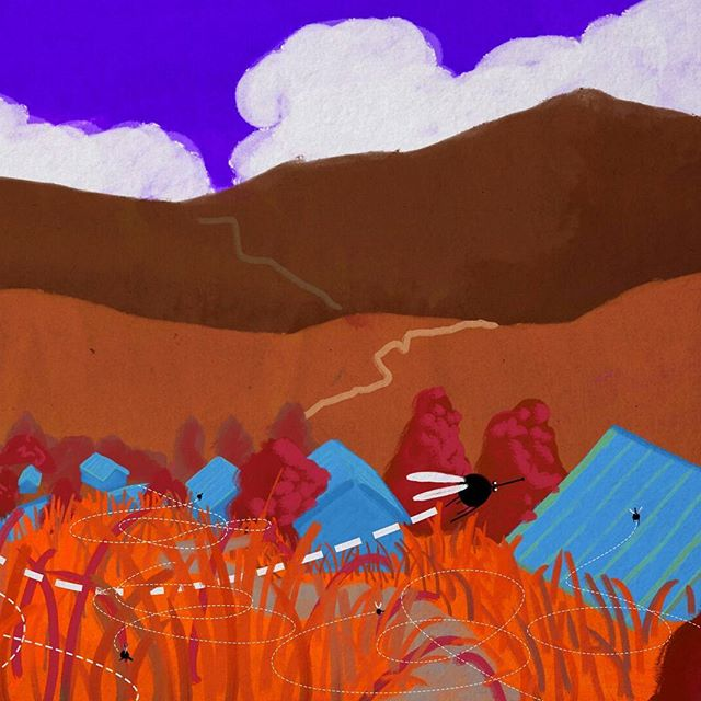 Some #designs for an animation I'm working on at the moment about malaria. . . . #malaria #mosquito #2danimation #animation #digitalpainting #photoshop #texture #colours #motherandchild #landscape #grassland #village