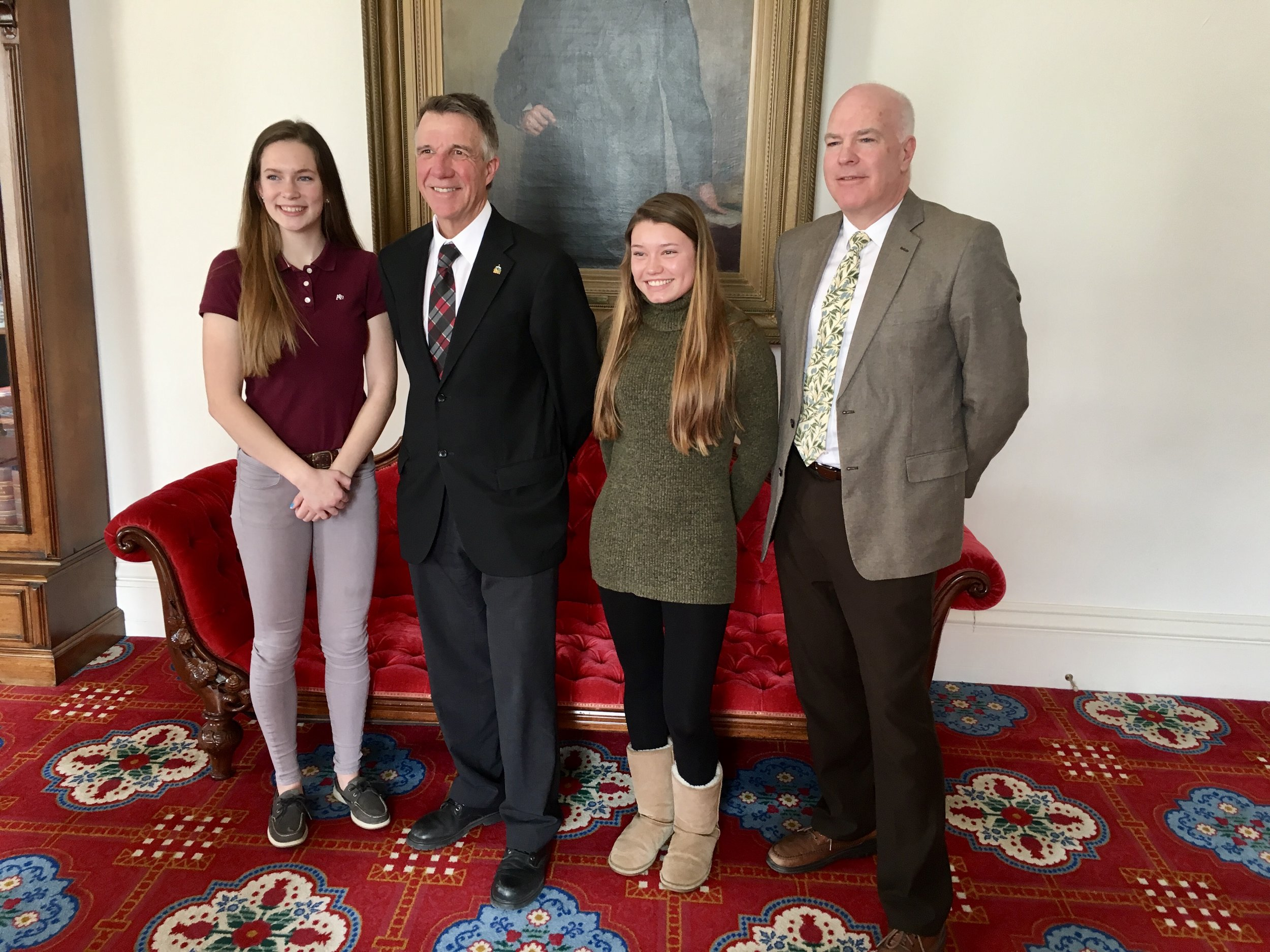 Vermont Talent Search students with Governor Phil Scott and State Senator Joe Benning